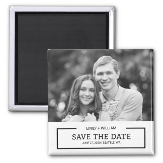 Minimalist Black and White Save the Date Photo Square Magnet