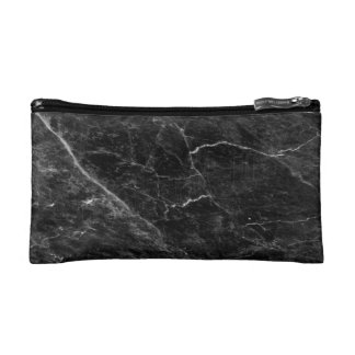 Minimalist Black Marble Print Cosmetic Bag