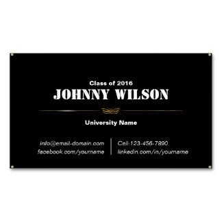 Minimalist Black Ornament Graduation Name Card Magnetic Business Cards