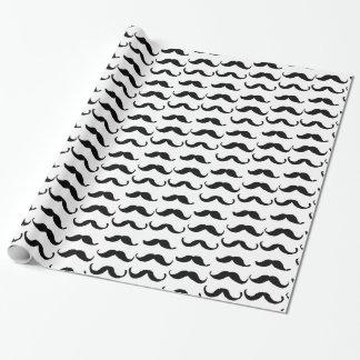 Minimalist Black white hand drawn moustache Wrapping Paper