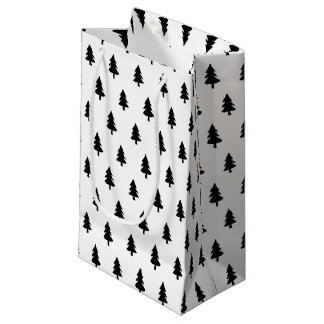 Minimalist Black White PINE TREE CHRISTMAS CUSTOM Small Gift Bag