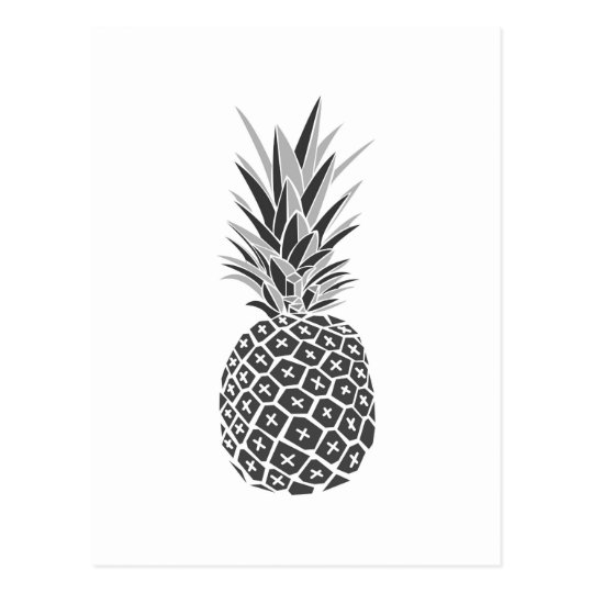 Minimalist Black & White Pineapple Postcard