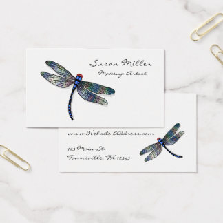 Minimalist Blue Dragonfly Business Card