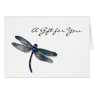 Minimalist Blue Dragonfly Gift Certificate Card