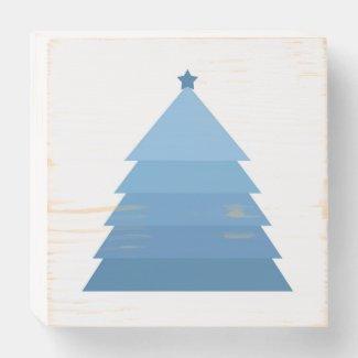 Minimalist Blue Tree Wooden Box Sign