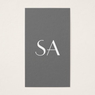 Minimalist Business Cards Initials on Front Gray