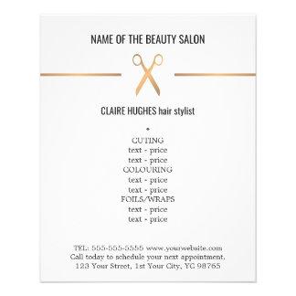 Minimalist Chic Faux Gold Scissor Hairstylist Menu 11.5 Cm X 14 Cm Flyer