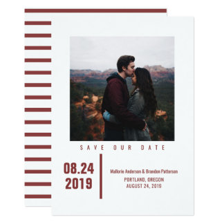 Minimalist Chic Photo Save the Date | Burgundy Card