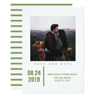 Minimalist Chic Photo Save the Date | Olive Green Card