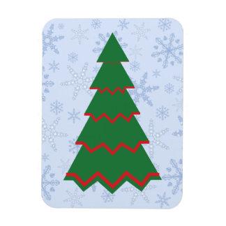 Minimalist Christmas Tree on Snowflake Blizzard Rectangular Photo Magnet