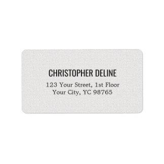 Minimalist Classic Elegant Texture White Label Address Label