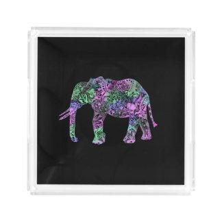 minimalist colorful tribal floral neon elephant acrylic tray