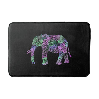 minimalist colorful tribal floral neon elephant bath mat
