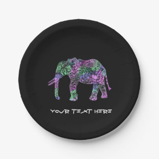 minimalist colorful tribal floral neon elephant paper plate
