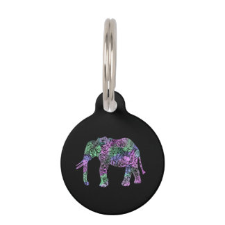 minimalist colorful tribal floral neon elephant pet name tag
