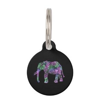 minimalist colorful tribal floral neon elephant pet tags