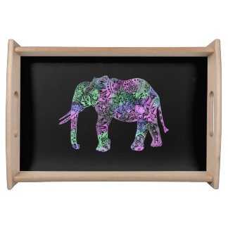minimalist colorful tribal floral neon elephant serving tray