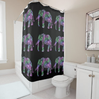 minimalist colorful tribal floral neon elephant shower curtain