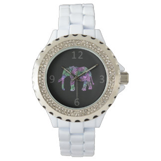 minimalist colorful tribal floral neon elephant watch