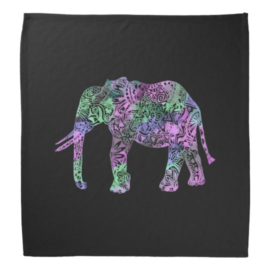 minimalist colourful tribal floral neon elephant bandana