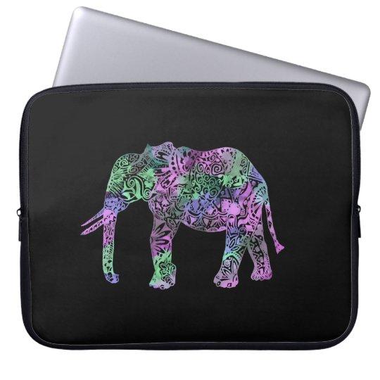 minimalist colourful tribal floral neon elephant laptop sleeve