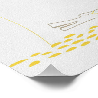 Minimalist Crocodile with heart and yellow flower. Print