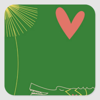 Minimalist Crocodile with heart and yellow flower. Square Sticker