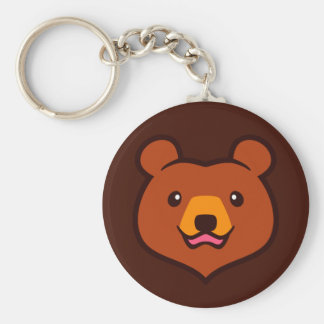 Minimalist Cute Cartoon Grizzly / Brown Bear Face Basic Round Button Key Ring