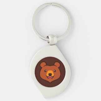 Minimalist Cute Cartoon Grizzly / Brown Bear Face Silver-Colored Swirl Key Ring