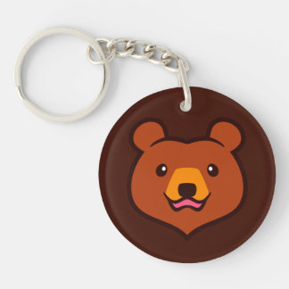 Minimalist Cute Cartoon Grizzly / Brown Bear Face Single-Sided Round Acrylic Key Ring