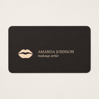 Minimalist Dark Light Pink Lips Makeup Artist Business Card