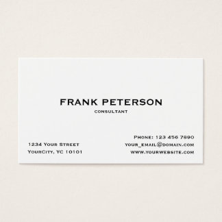 Minimalist Elegant Black White Simple Consultant Business Card