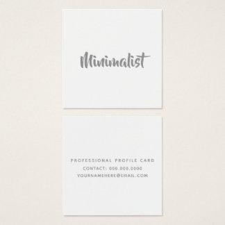 minimalist elegant cool gray script on white square business card