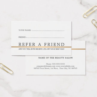 Minimalist Elegant Faux Gold Line Refer a Friend Business Card