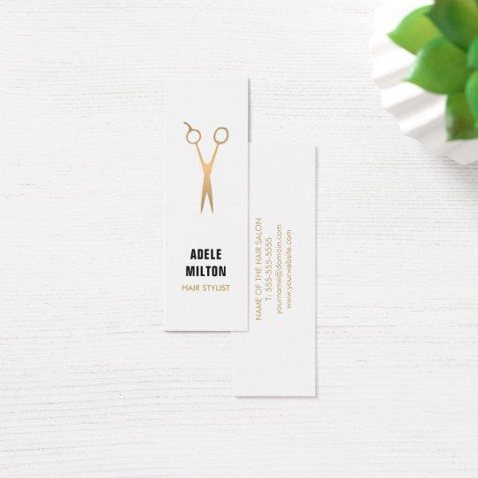 Minimalist Elegant Faux Gold White Hair Stylist Mini Business Card