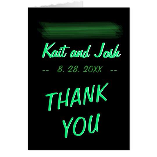Minimalist Elegant Glowing Emerald Green Thank You Card