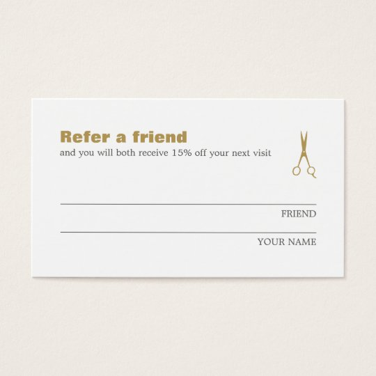 Minimalist Elegant Gold White Refer a Friend Card
