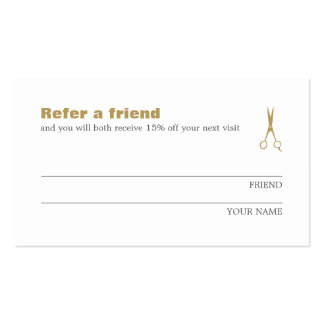 Minimalist Elegant Gold White Refer a Friend Card Pack Of Standard Business Cards