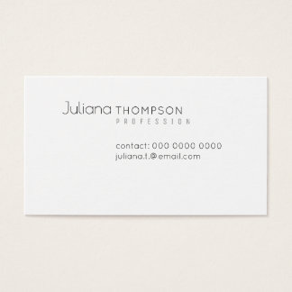 Minimalist elegant prof white business card