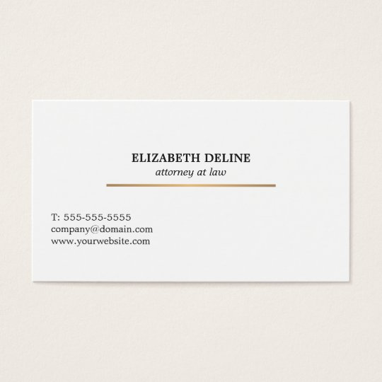 Minimalist Elegant White Faux Gold Line Attorney Business