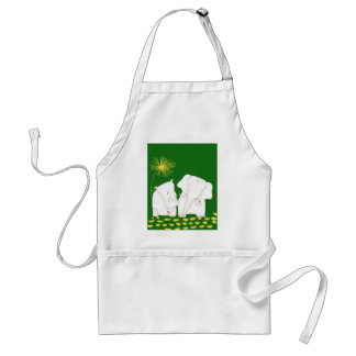 Minimalist Elephant and Hippo - Yellow and Green Apron
