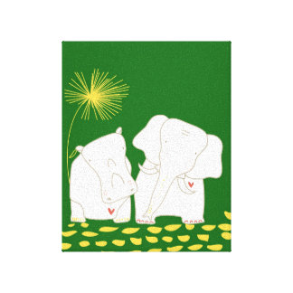 Minimalist Elephant and Hippo - Yellow and Green Canvas Prints