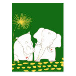 Minimalist Elephant and Hippo - Yellow and Green Postcard