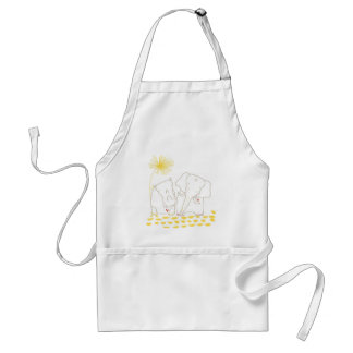 Minimalist Elephant and Hippo - Yellow and White Apron
