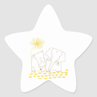 Minimalist Elephant and Hippo - Yellow and White Sticker