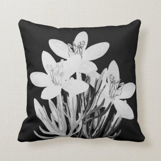 Minimalist Floral B & W Throw Pillow