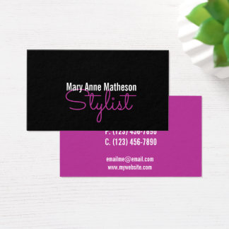 Minimalist Fuscia Stylist Business Card