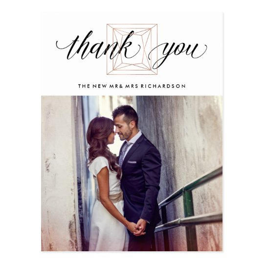Minimalist Geometric Diamond Wedding Thank You Postcard