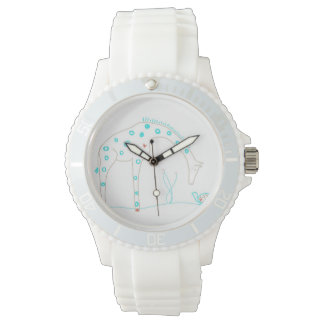 Minimalist Giraffe - White and Aqua Watch