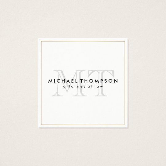 Minimalist Gold Border with Monogram Square Business Card
